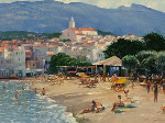 Along the Costa Brava 36x46 Original Painting - Howard Behrens