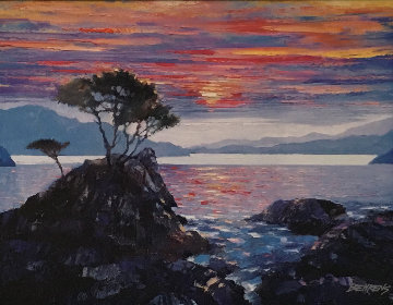 Sunset At the Lone Cypress 2011 Embellished Limited Edition Print by Howard Behrens