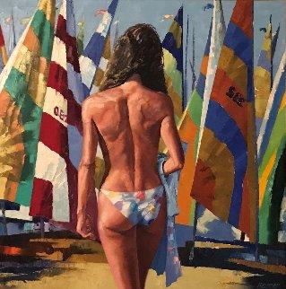 Fall Sail 1991 52x52 Huge Original Painting - Howard Behrens