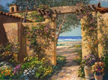 Casa By the Sea 2001 47x36 Huge Original Painting - Howard Behrens