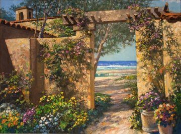 Casa By the Sea 2001 47x36 Super Huge Original Painting - Howard Behrens
