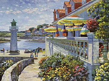 Lighthouse At Sazon 1980  Embellished    Limited Edition Print by Howard Behrens