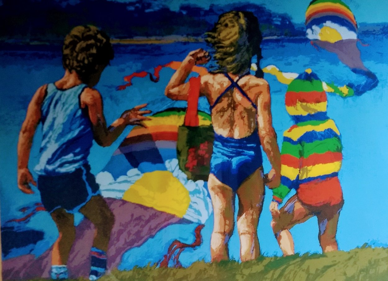Kids And Kites 1982 Limited Edition Print by Howard Behrens