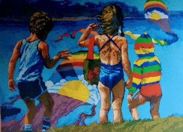 Kids And Kites 1982 Limited Edition Print - Howard Behrens