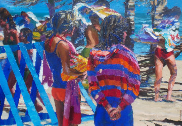 Two Girls on Beach 1981 37x45 Super Huge Original Painting - Howard Behrens