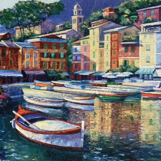 Portofino Harbor 1992 Embellished Limited Edition Print by Howard Behrens