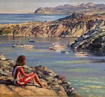 Untitled Seascape 49x53 Huge Original Painting - Howard Behrens