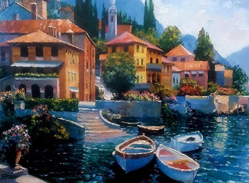 Lake Como Landing 2000 Embellished Limited Edition Print - Howard Behrens