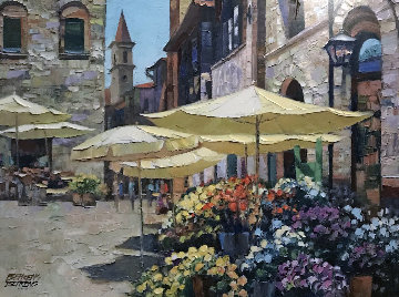 Siena Flower Market 2000 Heavily Embellished Limited Edition Print - Howard Behrens