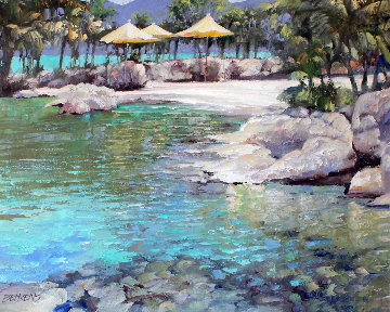 Caribbean  Cove 2002  36x42 Original Painting - Howard Behrens