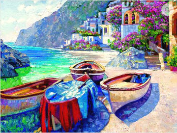 Memories of Capri Heavily  Embellished Limited Edition Print - Howard Behrens