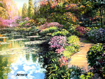 Giverny Path Heavily Embellished Limited Edition Print - Howard Behrens
