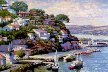 Sausalito Panorama 1993 Heavily Artist Embellished Limited Edition Print - Howard Behrens