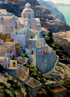 Hillside At Fira Limited Edition Print - Howard Behrens