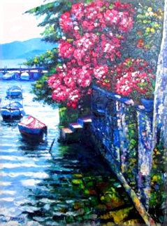 Stairs At Lake Como 1 40x49 Original Painting - Howard Behrens