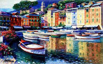 Portofino Harbor, Italy  1992 Limited Edition Print - Howard Behrens
