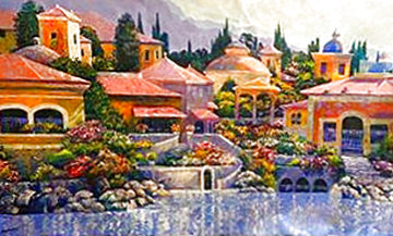 Villas of Italy 2009, Huge. Mural Size.  Heavily Embellished By Behrens  40x70 Super Huge Limited Edition Print - Howard Behrens