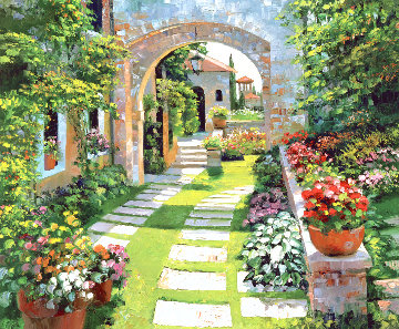 Villa Cipriani 2009 Huge and Heavily Embellished Limited Edition Print - Howard Behrens