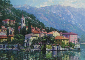 Reflections of Lake Como, Italy w Remarque Limited Edition Print - Howard Behrens