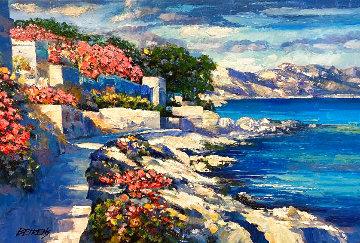 Memories of Santorini I 2011 24x36 Original Painting - Howard Behrens