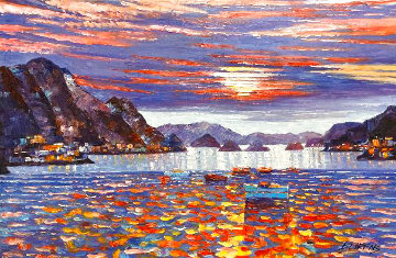 Sunset on the Med 2005 30x46 Original Painting - Howard Behrens
