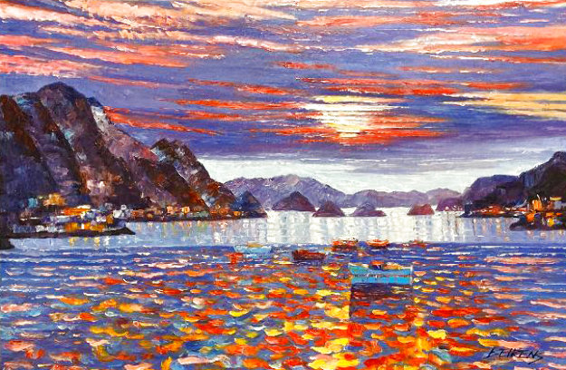 Sunset on the Med 2005 30x46 Original Painting by Howard Behrens