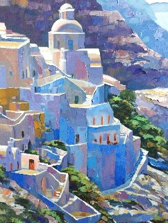 Hillside At Fira Serigraph on Canvas Hand Painting by Artist 46 x 37 1988 Limited Edition Print - Howard Behrens