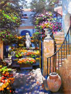 Palm Beach Flower Garden 2001 Embellished Limited Edition Print - Howard Behrens
