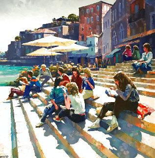Meeting At the Steps 1980 54x56 Huge Original Painting - Howard Behrens