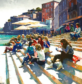 Meeting At the Steps 1980 54x56 Super Huge Original Painting - Howard Behrens