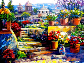 Domes of Mexico 2003 Embellished on Canvas -  Huge Limited Edition Print - Howard Behrens