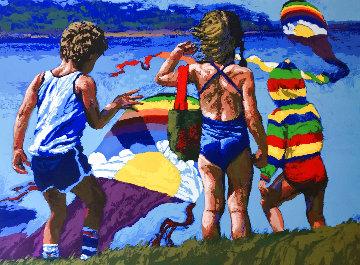 Kids And Kites  AP 1982 Huge  40x48 Limited Edition Print - Howard Behrens