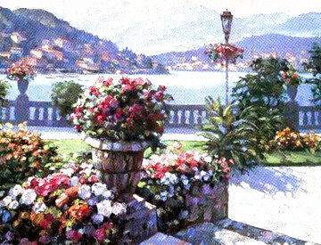 View From the Grand Hotel 1993 Huge 42x49 (Lake Como) Limited Edition Print - Howard Behrens