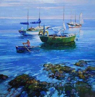 Summer Sea 38x38 Huge Original Painting - Howard Behrens