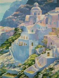 Hillside at Fira 1988 Limited Edition Print by Howard Behrens