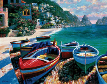 Capri Cove, France 2001 Embellished Limited Edition Print - Howard Behrens