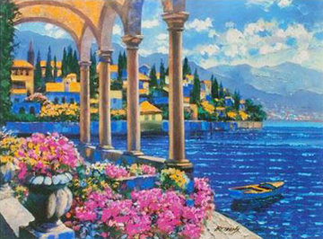 Villa on Lake Como, Italy Embellished Limited Edition Print - Howard Behrens