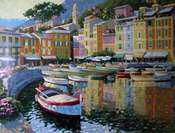 Portofino Harbor, Italy  AP 1992 Limited Edition Print - Howard Behrens