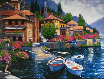 Lake Como Landing, Italy Embellished Limited Edition Print by Howard Behrens