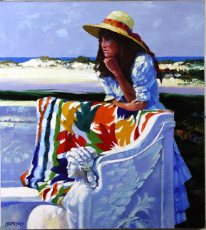 Marble Bench 40x36 Original Painting by Howard Behrens