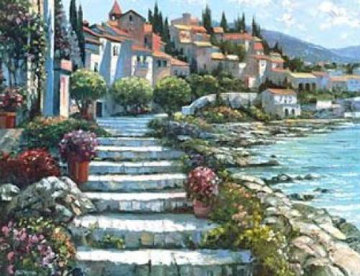 Steps of St. Tropez, France Embellished  Limited Edition Print - Howard Behrens