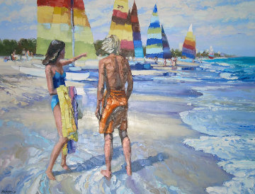 Untitled (Beach Scene) 1981 36x48 Original Painting by Howard Behrens