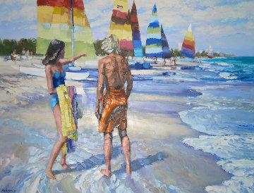 Untitled (Beach Scene) 1981 36x48 Huge Original Painting - Howard Behrens