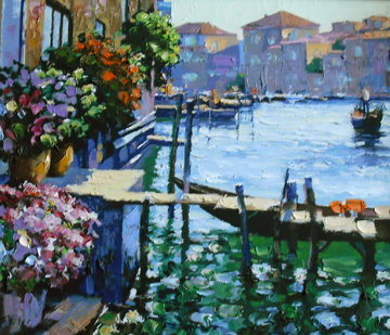 Arched Bridge, Gondoliers, Grand Canal, Afternoon Sun - Venice Suite of 4  Limited Edition Print by Howard Behrens