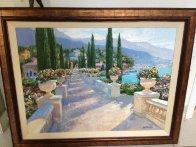 Lake Como Vista, Italy 2002 39x49 Super Huge Original Painting by Howard Behrens - 2