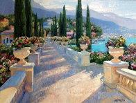 Lake Como Vista, Italy 2002 39x49 Super Huge Original Painting by Howard Behrens - 0