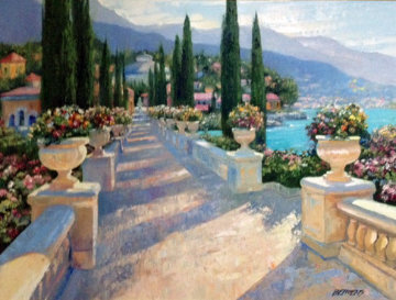 Lake Como Vista, Italy 2002 39x49 Super Huge Original Painting - Howard Behrens