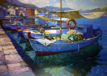 Paxos Harbor, Greece 48x30 Original Painting - Howard Behrens