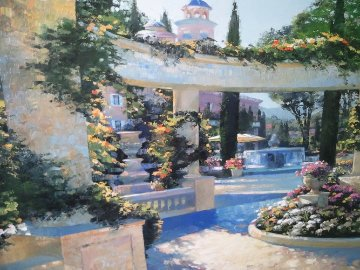 Bellagio Garden, Italy Embellished Limited Edition Print by Howard Behrens