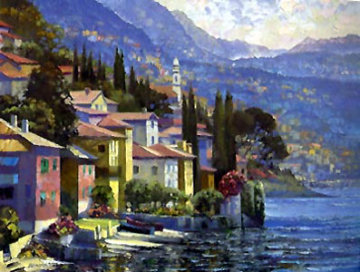 Impressions of Lake Como, Italy Embellished Limited Edition Print - Howard Behrens